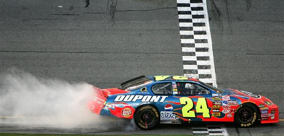 Jeff Gordon celebrates after winning the 2005 Daytona 500 Photo- Getty Images