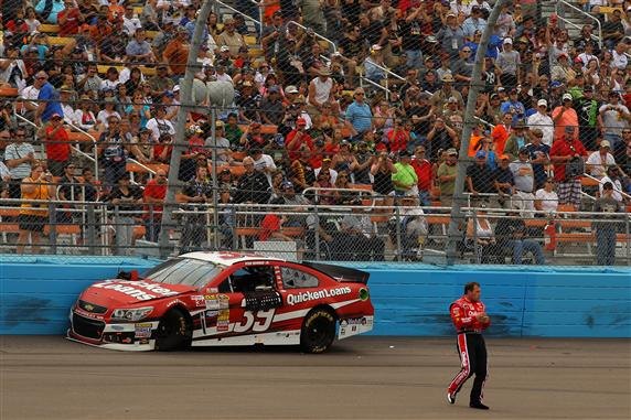 Newman walks away from his car after a wreck during last Sunday's Subway Fresh Fit 500 at Phoenix Photo- Getty Images