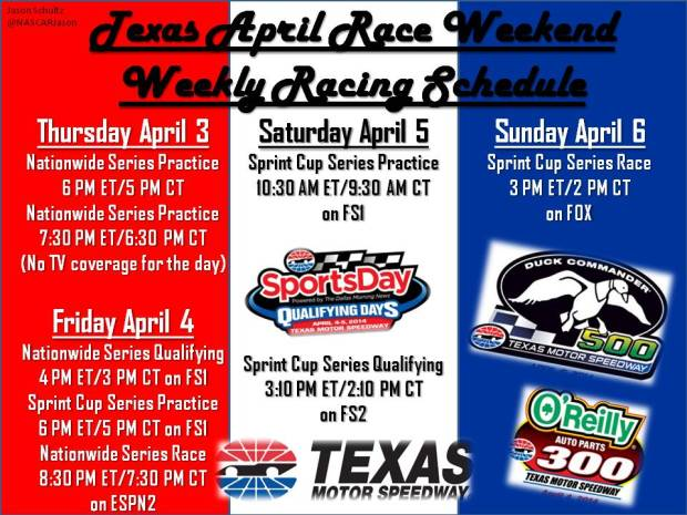 Texas April Schedule